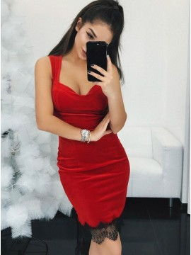 Sheath Scoop Above-Knee Red Velvet Homecoming Dress with Lace