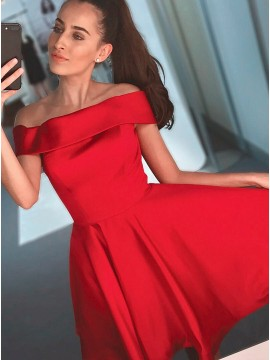 A-Line Off-the-Shoulder Above-Knee Red Satin Homecoming Dress