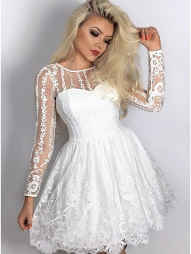 A-Line Crew Long Sleeves Short White Lace Homecoming Dress with Pleats