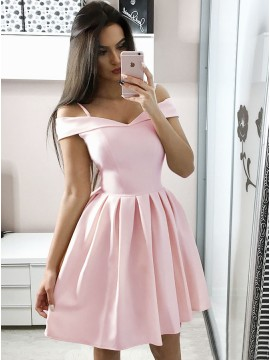 A-Line Off-the-Shoulder Above-Knee Pink Satin Homecoming Dress with Pleats