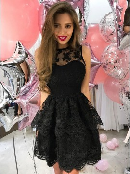 A-Line Crew Sleeveless Short Black Lace Homecoming Dress with Appliques