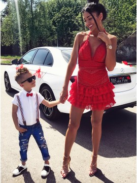 A-Line Halter Backless Short Red Lace Homecoming Cocktail Dress with Ruffles
