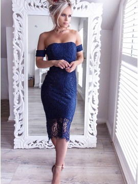 Sheath Off-the-Shoulder Tea-Length Navy Blue Lace Cocktail Dress