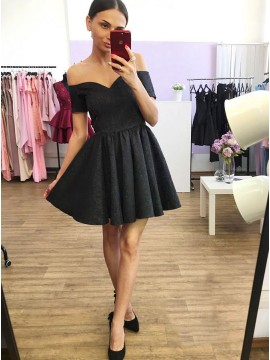 A-Line Off-the-Shoulder Short Black Printed Satin Homecoming Dress