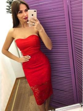 Sheath Sweetheart Tea-Length Red Lace Prom Homecoming Dress
