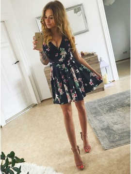 A-Line V-Neck Above-Knee Black Printed Homecoming Dress