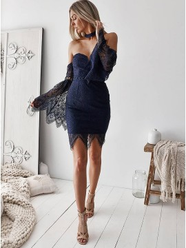 Sheath Sweetheart Bell Sleeves Above-Knee Navy Blue Lace Homecoming Dress