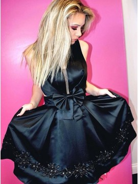 A-Line V-Neck Above-Knee Black Homecoming Dress with Beading Bowknot