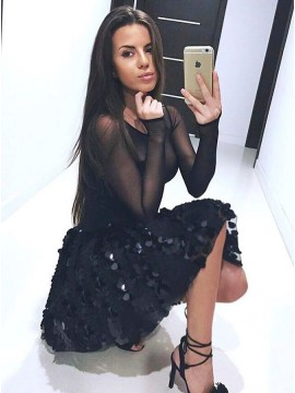 A-Line Bateau Long Sleeves Above-Knee Black Homecoming Dress with Sequins