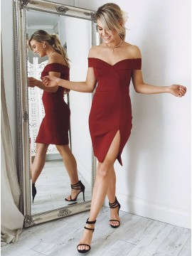 81fe6d648b3 Sheath Off-the-Shoulder Knee-Length Dark Red Homecoming Dress with Split