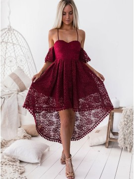 A-Line Spaghetti Straps High Low Burgundy Lace Prom Homecoming Dress