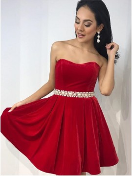 A-Line Sweetheart Above-Knee Red Velvet Homecoming Dress with Beading