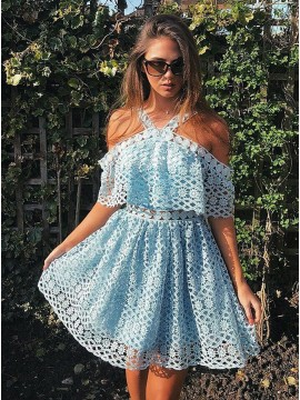 A-Line Cross-Neck Knee-Length Light Blue Lace Homecoming Dress