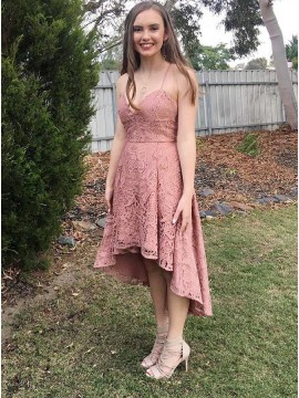 A-Line Spaghetti Straps High Low Blush Lace Prom Homecoming Dress