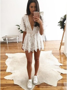 A-Line Deep V-Neck Short White Lace Homecoming Dress
