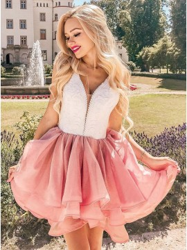 A-Line V-Neck Short Pink Tiered Homecoming Dress with Lace