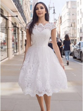 A-Line Scalloped-Edge Tea-Length White Homecoming Prom Dress with Appliques