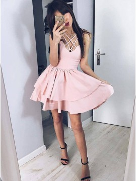 A-Line Spaghetti Straps Short Pink Tiered Satin Homecoming Dress