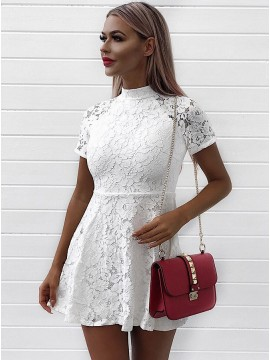 A-Line High Neck Short White Lace Homecoming Party Dress