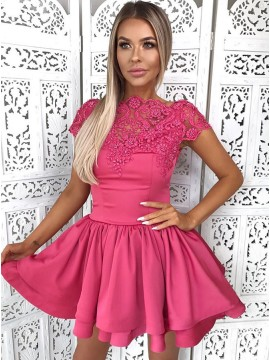 A-Line Bateau Short Tiered Fuchsia Homecoming Dress with Appliques Beading