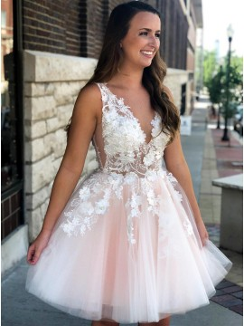 A-Line V-Neck Knee-Length Pink Homecoming Prom Dress with Appliques