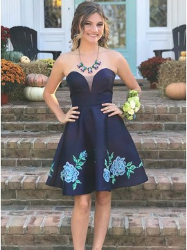 A-Line Sweetheart Above-Knee Navy Blue Homecoming Dress with Appliques