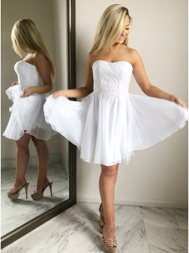 A-Line Sweetheart Above-Knee White Homecoming Dress with Appliques