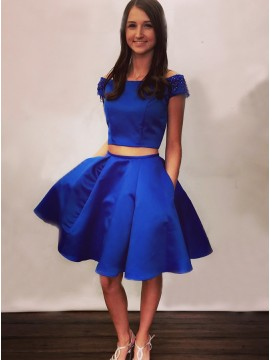 Two Piece Off-the-Shoulder Knee-Length Royal Blue Homecoming Dress with Pockets