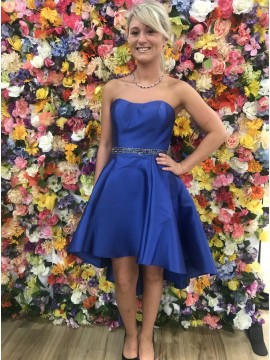A-Line Sweetheart High Low Royal Blue Homecoming Dress with Beading