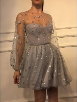 A-Line Crew Long Sleeves Short Grey Homecoming Dress with Beading