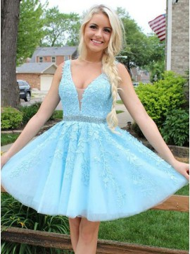 A-Line V-Neck Above-Knee Blue Homecoming Dress with Appliques Beading