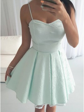 A-Line Spaghetti Straps Above-Knee Mint Printed Satin Homecoming Dress with Pleats