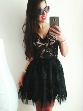A-Line V-Neck Above-Knee Black Homecoming Dress with Lace