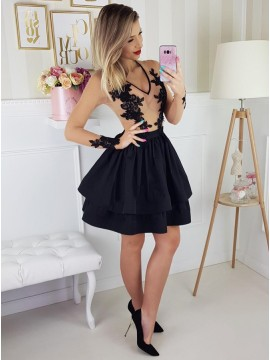 A-Line V-Neck Long Sleeves Above-Knee Black Tiered Homecoming Dress with Appliques