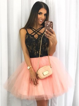 A-Line Cross-Neck Above-Knee Pink Homecoming Dress with Appliques Beading