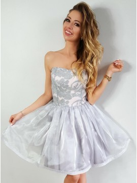 A-Line Sweetheart Above-Knee Light Grey Homecoming Dress with Appliques