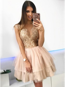 A-Line Crew Above-Knee Champagne Tiered Homecoming Dress with Lace