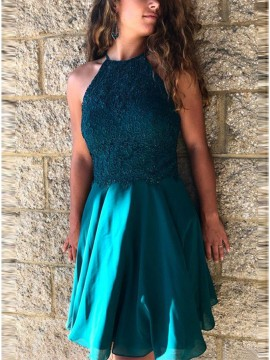 A-Line Crew Above-Knee Dark Green Homecoming Dress with Appliques Beading