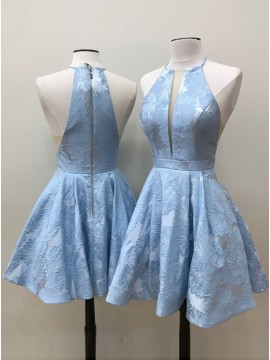 A-Line Crew Above-Knee Light Blue Printed Satin Homecoming Dress