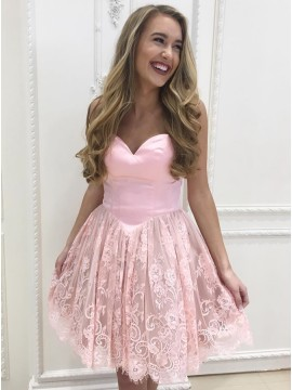 A-Line Sweetheart Above-Knee Pink Homecoming Dress with Lace Pleats
