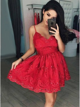A-Line Spaghetti Straps Above-Knee Red Homecoming Dress with Appliques