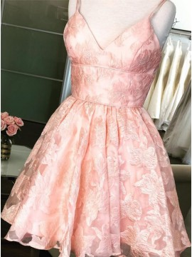 A-Line Spaghetti Straps Above-Knee Pink Lace Homecoming Party Dress