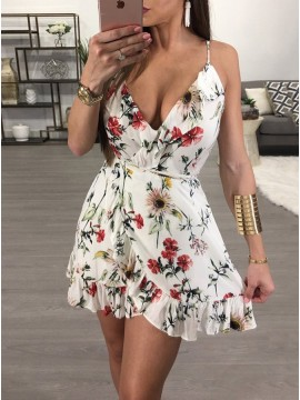A-Line Spaghetti Straps Short White Floral Homecoming Dress with Ruffles
