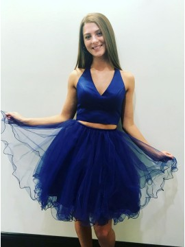 Two Piece V-Neck Above-Knee Royal Blue Tiered Homecoming Dress