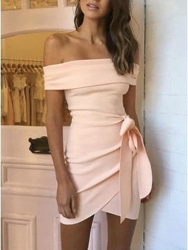 Sheath Off-the-Shoulder Short Pink Homecoming Party Dress with Sash