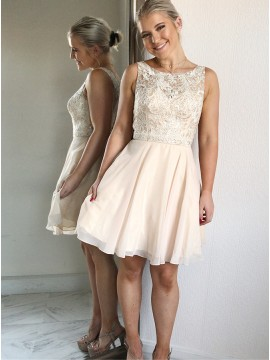 A-Line Round Neck Above-Knee Pearl Pink Homecoming Dress with Lace Beading