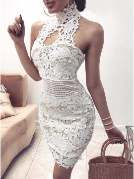 Sheath Halter Backless Above-Knee White Lace Homecoming Dress with Keyhole