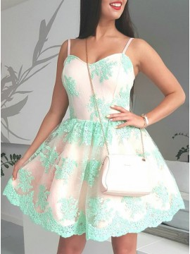 A-Line Spaghetti Straps Above-Knee Mint Homecoming Dress with Appliques