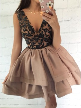 A-Line V-Neck Above-Knee Brown Tiered Homecoming Dress with Beading