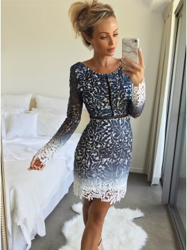 Sheath Round Neck Long Sleeeves Above-Knee Dark Blue Lace Homecoming Dress
